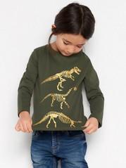 Tummanvihreä pusero, jossa on kullanvärinen dinosauruspainatus Vihreä