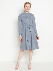 Randig skjortklänning med knytskärp Blå