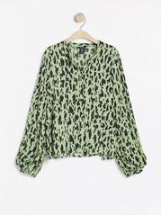 Pitkähihainen kuvioitu pusero Vihreä