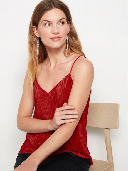 Plissert rød undertøysoverdel Rød