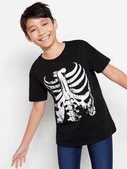 Kortärmad svart t-shirt med skelett-tryck Svart