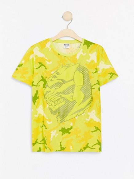 Neongul T-skjorte med Fortnite-gummitrykk Gul