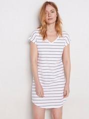 Proužkovaná noční košile Bílá