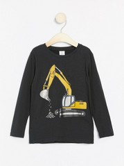 Black jersey top with excavator print Black