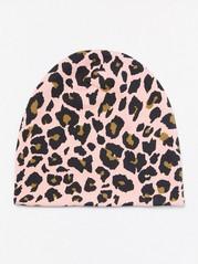 Čepice sleopardím vzorem Růžová