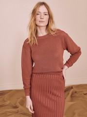 Stickad tröja med lyster Röd