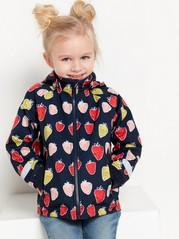 Softshelljakke med jordbærmønster Blå