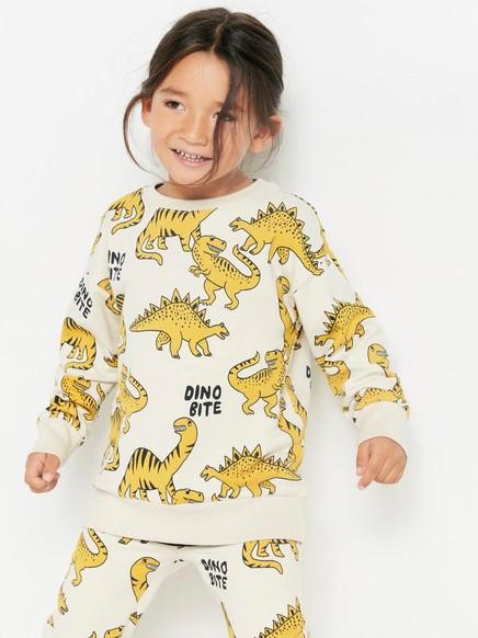 Oversized genser med gule dinosaurer Gul