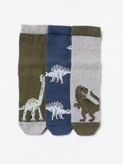 3-pack antislipstrumpor med dinosaurier Blå