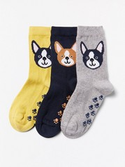 3-pack antislip-sockor med hundar Blå