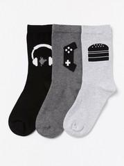 3-pakning med sokker med spillmotiv Grå