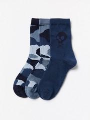 3-pack strumpor med mönster och dödskallar Blå