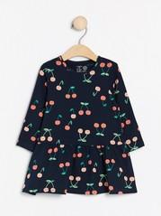 Mønstret, langermet kjole Blå