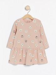 Mønstret, langermet kjole Rosa