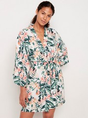 Blommig kimono Vit