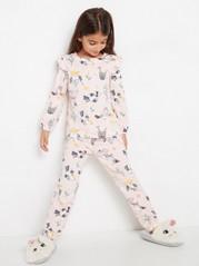 Rosa pyjamas med fåglar och axelvolanger Rosa