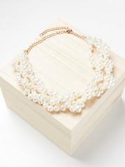 Halsband med pärlor Vit