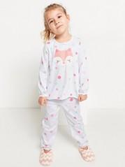 Pyjamas med prickar och räv-tryck Vit