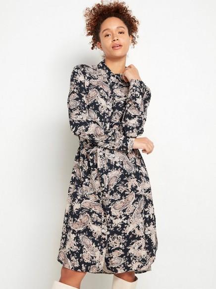 Mönstrad skjortklänning med knytskärp Blå