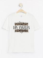 Lyhythihainen t-paita, jossa painatus Valkoinen
