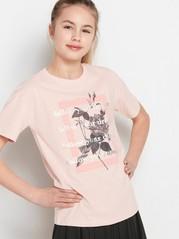 Lyhythihainen t-paita, jossa painatus Vaaleanpunainen