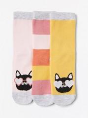 3 paria sukkia, joissa kissoja ja leveät raidat Keltainen