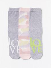 3-pack strumpor med mönster Grå