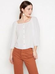 Hvit bluse med firkantet utringning Hvit