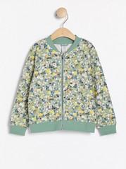 Pehmeä bomber-takki, jossa kukkakuviointi Vihreä