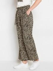 Loose fit leopardmönstrad byxa med skärp Svart