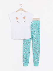 Pyjamas med enhjørningmotiv og trykk Havblå