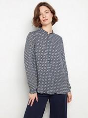 Langermet bluse med mønster Blå