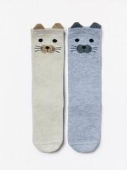 2-pakning med sokker med dyreansikter Beige