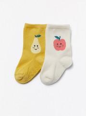 Omena- ja päärynäkuvioidut sukat, 2 paria Keltainen