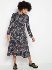Kukkakuvioitu pitkähihainen mekko Sininen