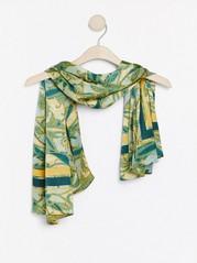 Paisleymønstret satengskjerf Grønn