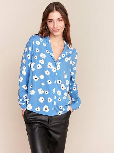Blå blus med blommönster Blå