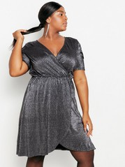 Hopeanvärinen lyhythihainen mekko Metalli