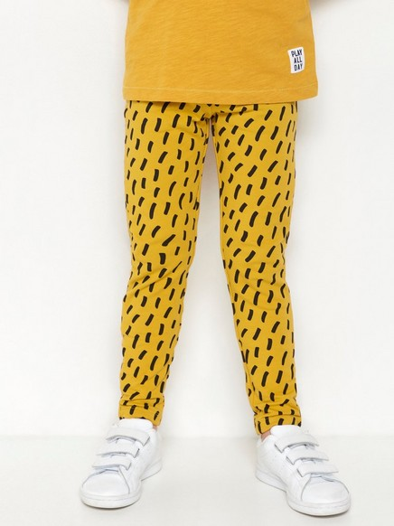 Kuvioidut leggingsit, joissa harjattu sisäpuoli Keltainen