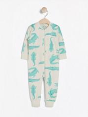 Lysebeige pyjamas med krokodillemønster Beige