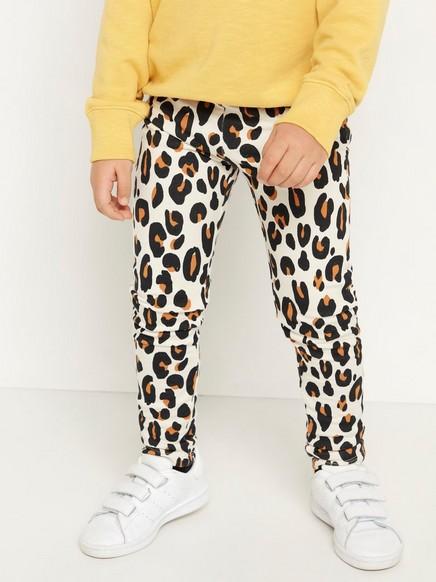 Leopardikuvioidut leggingsit, joissa harjattu sisäpuoli Beige