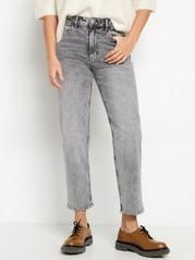 NEA Croppade raka high waist-jeans Svart