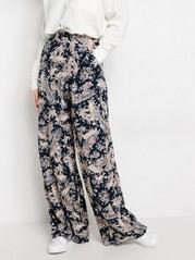 Korkeavyötäröiset paisley-kuvioidut housut Sininen