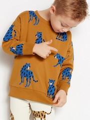 Väljä ruskea collegepusero, jossa sinisiä tiikereitä Ruskea