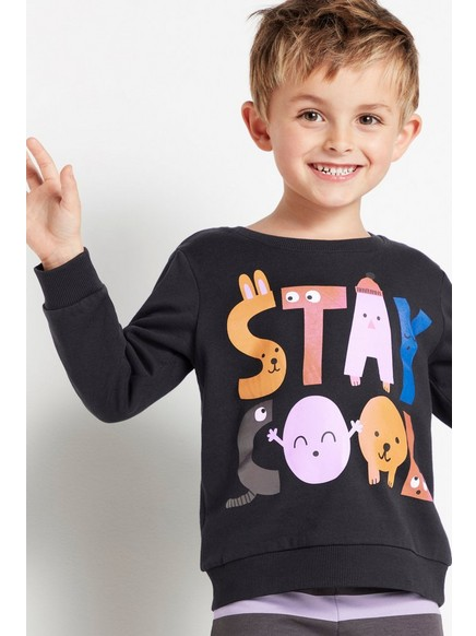 Svart sweatshirt med tryck Svart