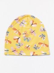 Keltainen trikoopipo, jossa perhoskuvio Keltainen