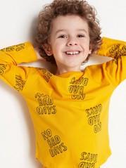 Pitkähihainen pusero, jossa painatus Keltainen
