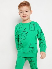Oversize sweatshirt med tryck Grön