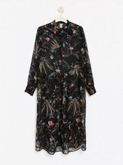 Mønstret maxi-kjole Svart