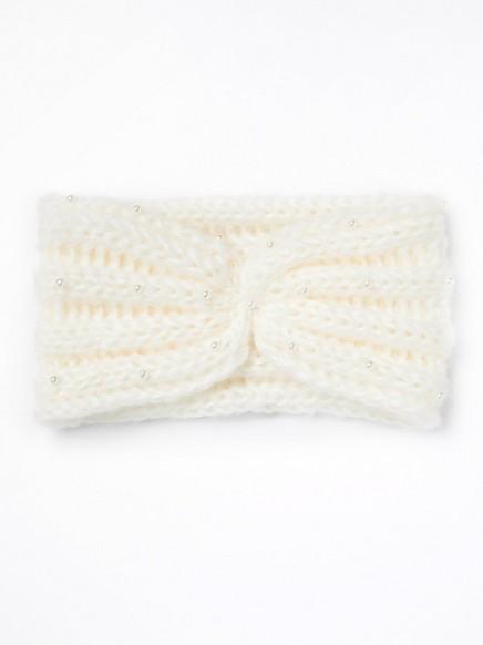 Hvitt, strikket pannebånd med perler Hvit